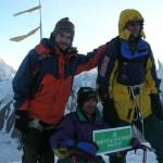 On the summit of Gondogoro Peak
